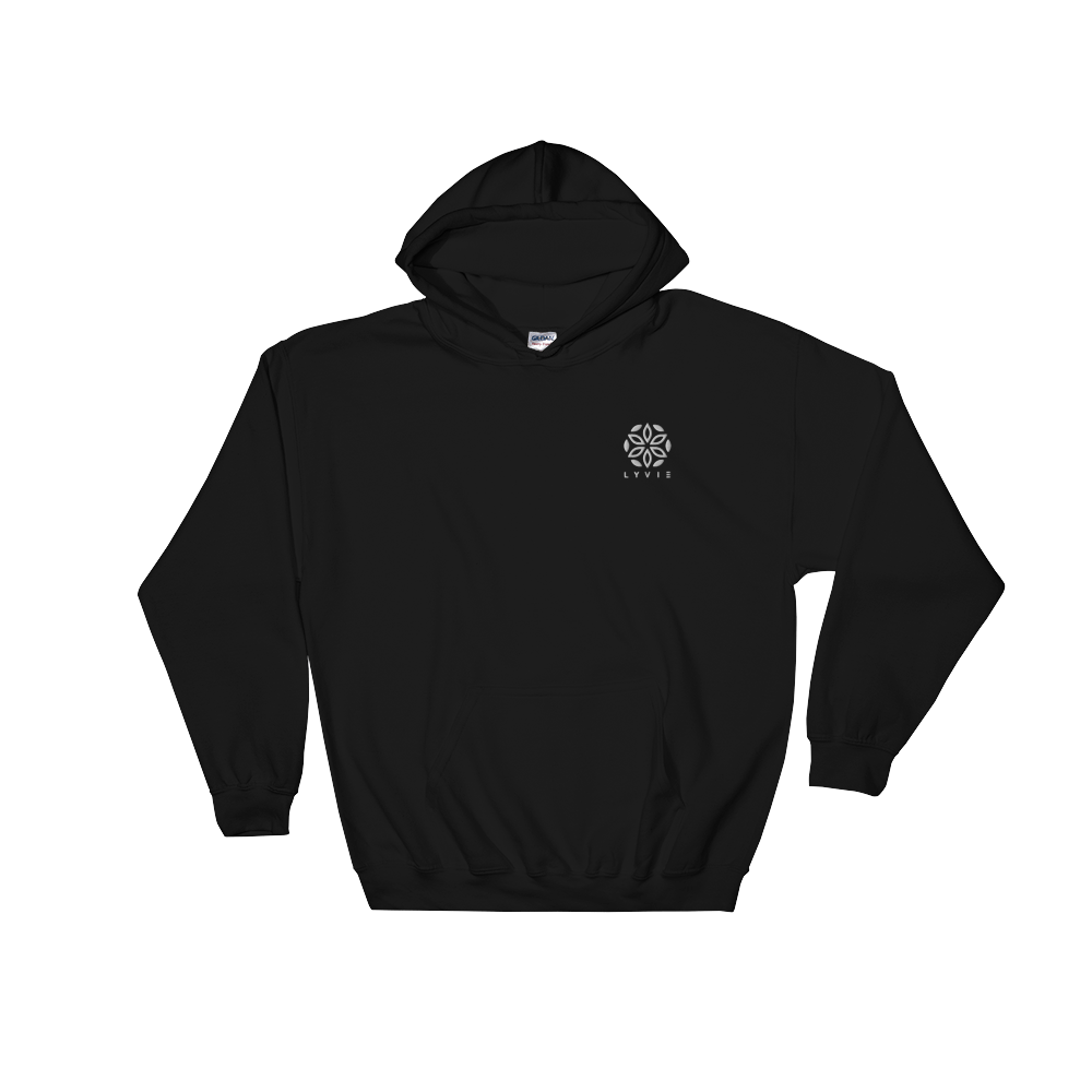 Embroidered Logo Hoodie - Black / White - L Y V E L Y - streetwear - activewear - lifestyle - inspirational - urban apparel - supply - casual