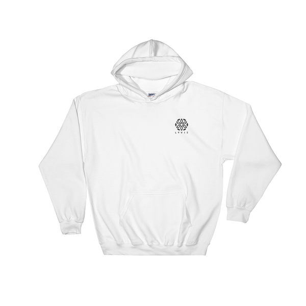Embroidered Logo Hoodie - White / Black - L Y V E L Y - streetwear - activewear - lifestyle - inspirational - urban apparel - supply - casual