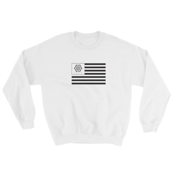 LYVIE Flag Crewneck Sweater - White - L Y V E L Y - streetwear - activewear - lifestyle - inspirational - urban apparel - supply - casual
