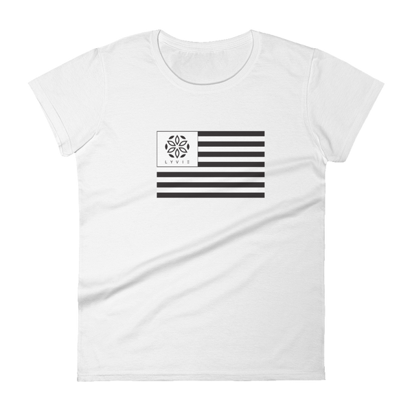LYVIE Flag Women's Short Sleeve T-shirt - White - L Y V E L Y - streetwear - activewear - lifestyle - inspirational - urban apparel - supply - casual