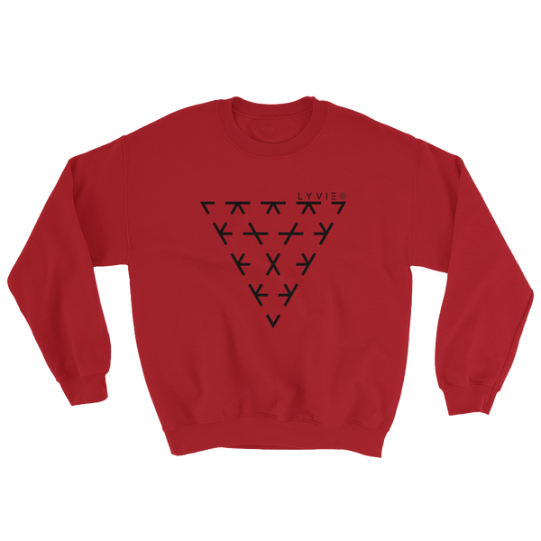 Triangle Crewneck Sweater - Red / Black - L Y V E L Y - streetwear - activewear - lifestyle - inspirational - urban apparel - supply - casual
