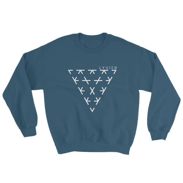 Triangle Crewneck Sweater - Indigo Blue / White - L Y V E L Y - streetwear - activewear - lifestyle - inspirational - urban apparel - supply - casual