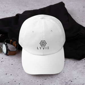 LYVIE logo Dad hat - White - L Y V E L Y - streetwear - activewear - lifestyle - inspirational - urban apparel - supply - casual