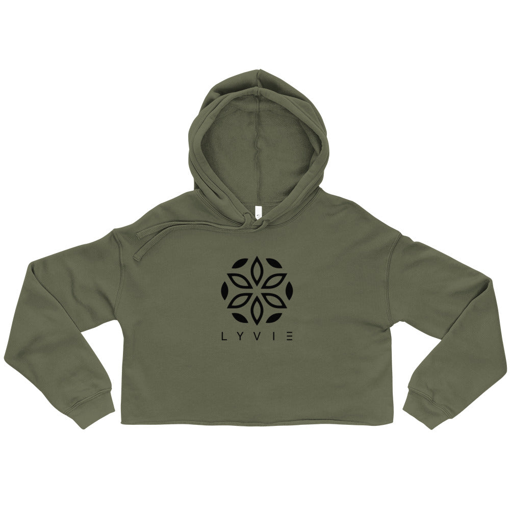 LYVIE Logo Crop Hoodie - Military Green / Black - L Y V E L Y - streetwear - activewear - lifestyle - inspirational - urban apparel - supply - casual