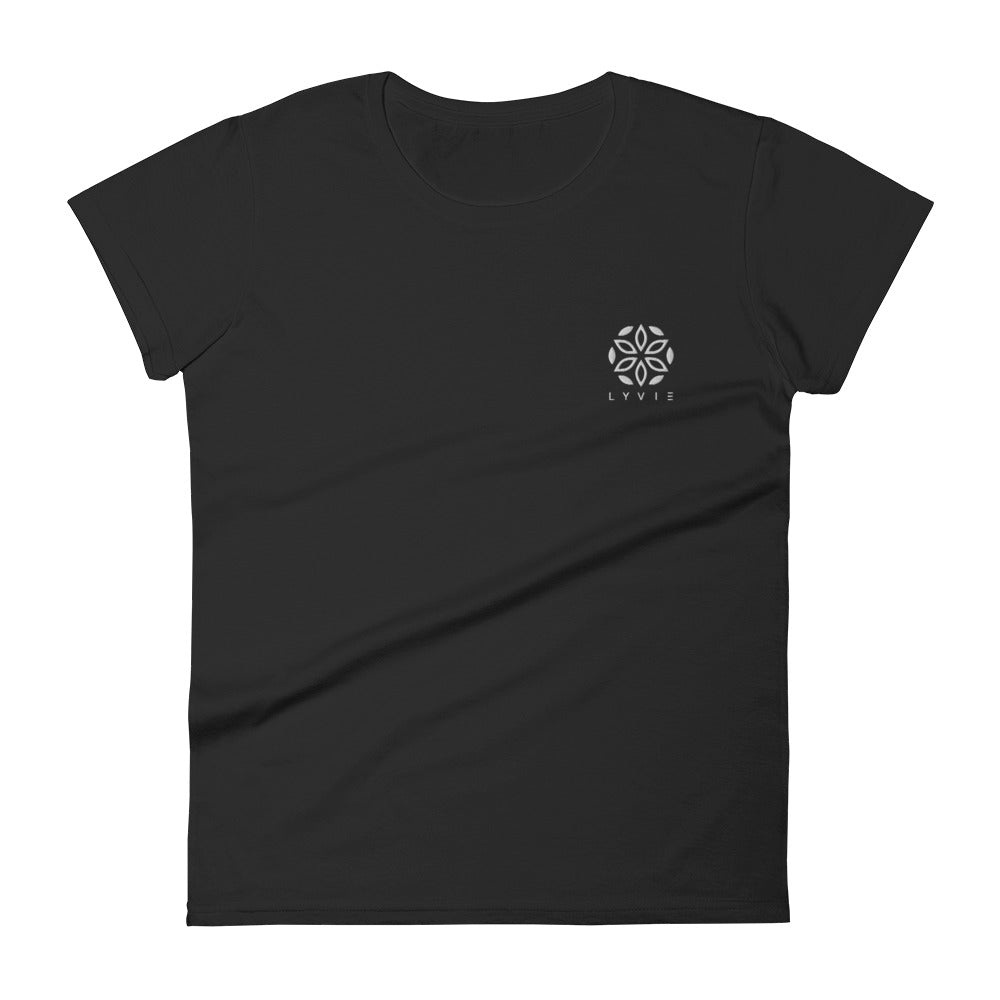 Basic Embroidered Logo Women's T-shirt - Black - L Y V E L Y - streetwear - activewear - lifestyle - inspirational - urban apparel - supply - casual