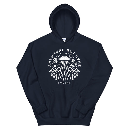 Anywhere But Here Hoodie - Navy / White - L Y V E L Y - streetwear - activewear - lifestyle - inspirational - urban apparel - supply - casual