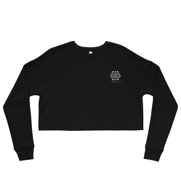Embroidered Logo Crop Sweater - Black / White - L Y V E L Y - streetwear - activewear - lifestyle - inspirational - urban apparel - supply - casual