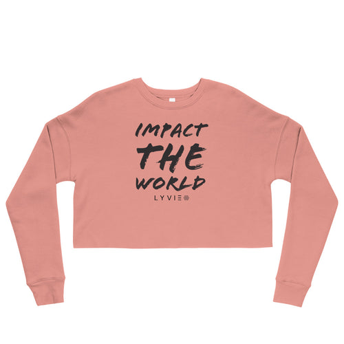 Impact The World Crop Sweater - Mauve / Black - L Y V E L Y - streetwear - activewear - lifestyle - inspirational - urban apparel - supply - casual