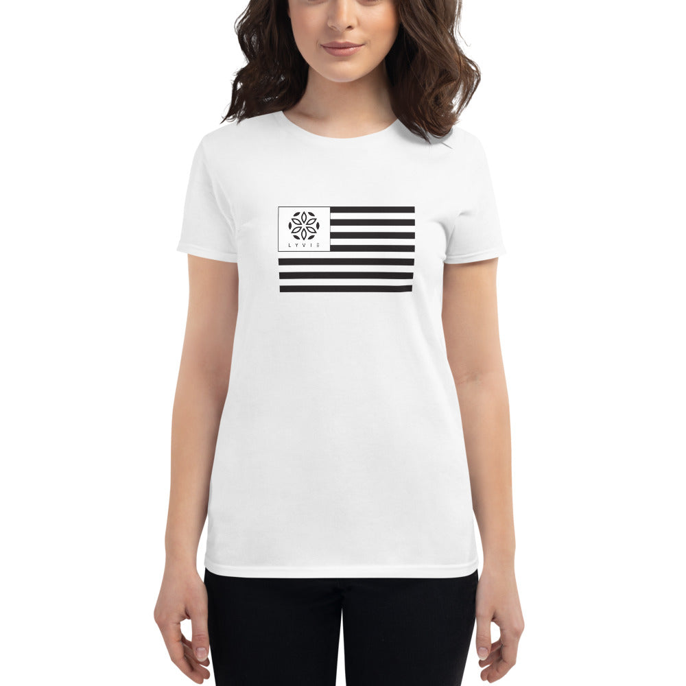 LYVIE Flag Women's Short Sleeve T-shirt - White