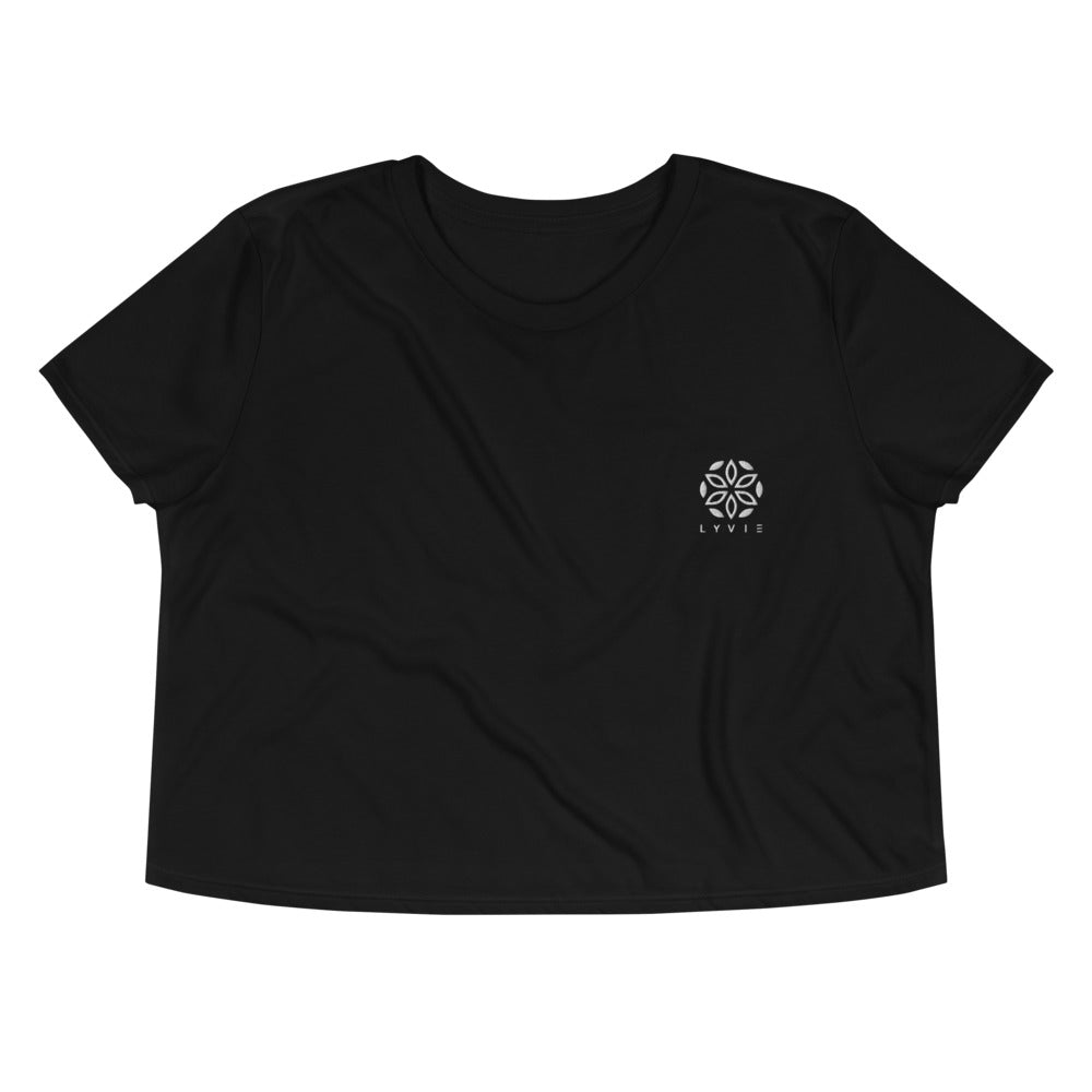 Embroidered Logo Flowy Crop Tee - Black