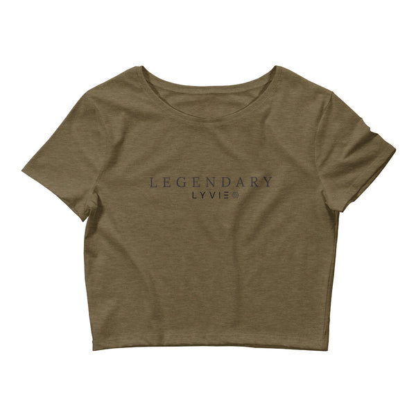LEGENDARY Women's Crop Tee - Heather Olive / Black - L Y V E L Y - streetwear - activewear - lifestyle - inspirational - urban apparel - supply - casual