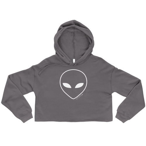 Alien Head Crop Hoodie - Storm / White - L Y V E L Y - streetwear - activewear - lifestyle - inspirational - urban apparel - supply - casual