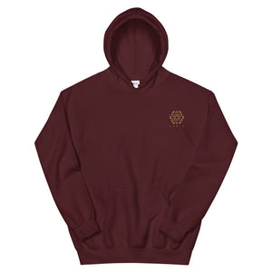 Embroidered Logo Hoodie - Maroon / Gold - L Y V E L Y - streetwear - activewear - lifestyle - inspirational - urban apparel - supply - casual