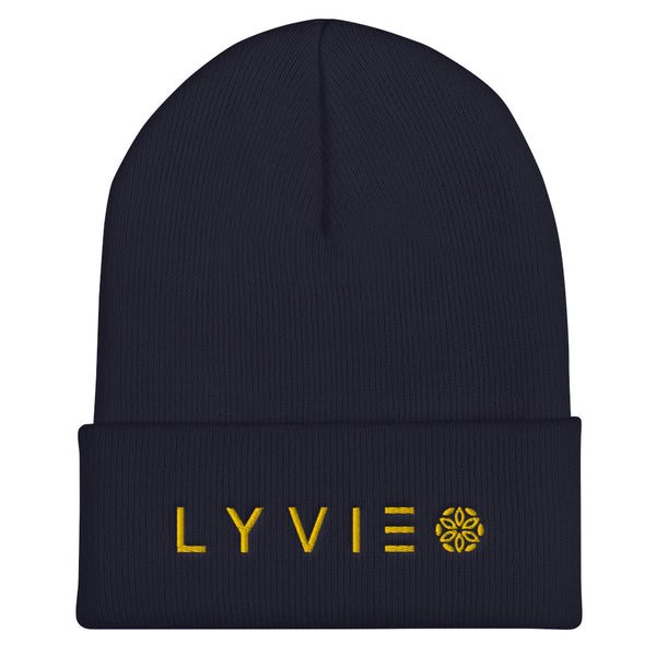 Horizontal Logo Cuffed Beanie - Navy / Yellow - L Y V E L Y - streetwear - activewear - lifestyle - inspirational - urban apparel - supply - casual