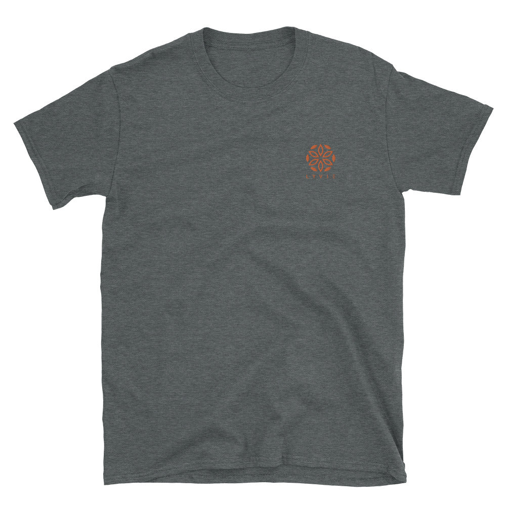 Basic Embroidered Logo T-Shirt - Dark Heather/Orange - L Y V E L Y - streetwear - activewear - lifestyle - inspirational - urban apparel - supply - casual