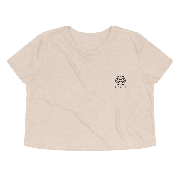 Embroidered Logo Flowy Crop Tee - Heather Dust - L Y V E L Y - streetwear - activewear - lifestyle - inspirational - urban apparel - supply - casual