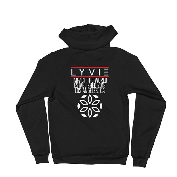 Established Zipper Hoodie - Black / White - L Y V E L Y - streetwear - activewear - lifestyle - inspirational - urban apparel - supply - casual