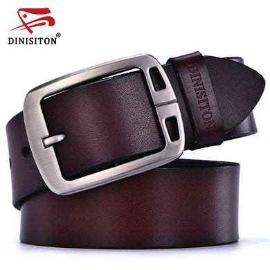 DINISITON cowhide genuine leather designer belt men high quality vintage pin buckle  trouser strap male Waistband ceinture femme