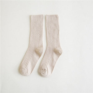 CHAOZHU 2019 New Loose Socks Women 200 Needles Cotton Knitting Rib Solid Colors 14 Kinds of 4 Seasons Basic Daily Women Socks