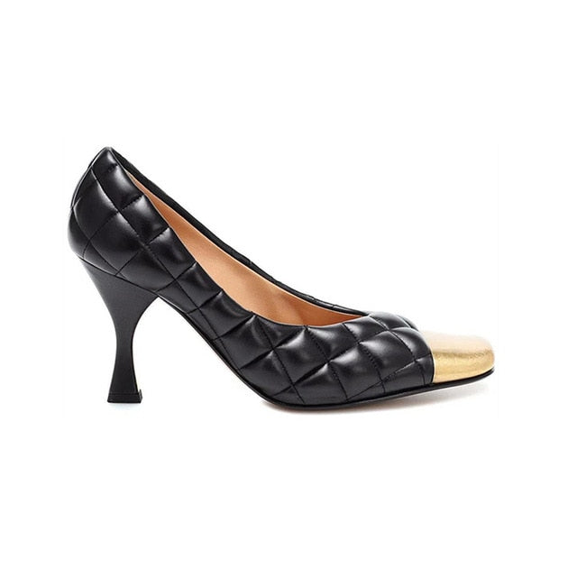 New Luxury Brand Designer Women Pumps Metal Decoration In Font Square Toe Shallow Solid Black&white Thin High Heels