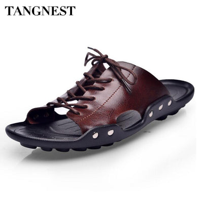 Tangnest New 2017 Men Lace UP Sandals Retro PU Leather Slippers Men Casual Open Toe Beach Shoes Cut-out Sandals Size 38~44 XMT18