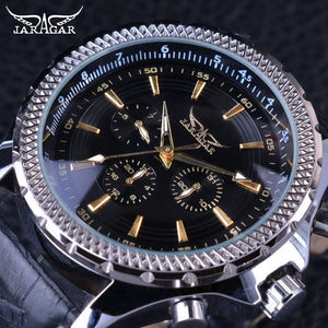 Jaragar Fashion Big Dial Series Golden Number Three Dial Design Genuine Leather Mens Watches Top Brand Luxury Automatic Watches