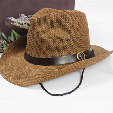 Men Cowboy Trilby Hat  Wide Brim Straw One Size Cap