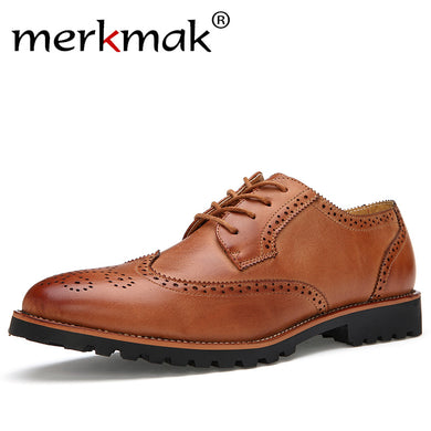 New Arrival Plus Size Vintage Leather Men's Shoes Business Formal Brogue Pointed Toe Carved Oxfords Vintage Wedding Dress Shoes