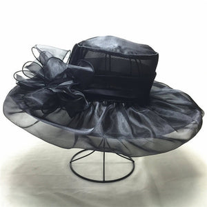 [FLB] Elegant Fashion Women's Hats For Women Flower Hat Summer Gorras Sun Hat Wedding Kentucky Derby Wide Brim Sea Beach