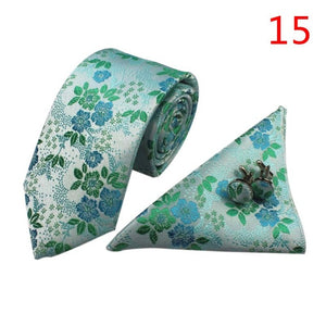 2017 Mans Tie Floral Jacquard Necktie  Cufflinks Fashion Tie Set for Men Formal Wedding Party Men Ties