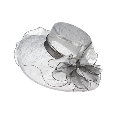 Fashion Bowknot Wedding Fedora For Women Organza Gauze Large Wide Brim Sun Summer Hat Flat Elegant Ladies Hats