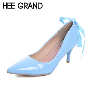 HEE GRAND Elegant Spike High Heels 2017 Summer Lace up Pumps Pointed Toe Patend Leather Wedding Shoes Woman 5 Colors WXG438