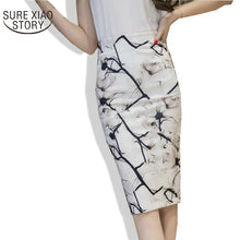 2017 New Arrival Summer Fashion Printing High Waist Bag Hip Skirt Female Elegant Floral Slim Plus Size Skirt 324J 30