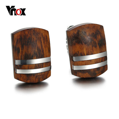 Vnox Mens Cufflinks with Retro Rosewood High Quality Stainless Steel Cufflinks for Men Jewelry