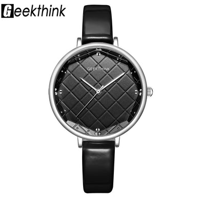 Geekthink Fashion Quartz Watches Women Big Glass Wrist Watch Leather Top Luxury Brand Ladies Dress Clock Female New relogio
