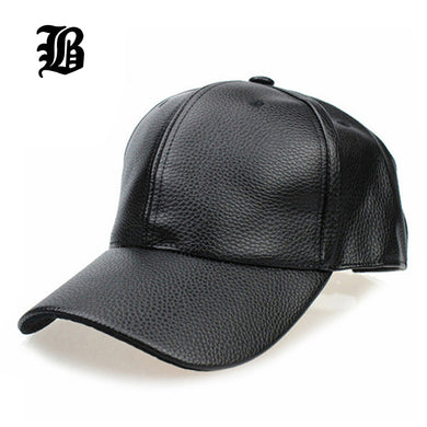 [FLB] 2017 NEW Black PU Leather Baseball Cap Hip Hop caps gorras Snapback Hat Trucker hats For Men women wholesale