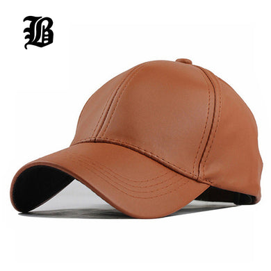 [FLB] Wholesale New Winter PU Leather Caps Baseball Cap Biker Trucker casquette Snapback Hats For Men