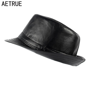 AETRUE Men Fedoras Hat Panama Caps Gorros PU Plain Boater Brim Fashion Fedoras Winter Hats