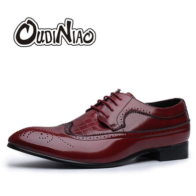 Large Size 5.5 - 12 Formal Men Dress Shoes Brogue Elegant Design Quality Brand Mens Business Basic Alligator Casual Derby Shoes