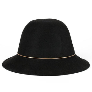2017 new high quality 100% Australian Wool Fedora Hat ring Noble Bowler Hats For Women Wide Brim Formal Cloche Hat