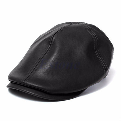 Mens Ivy Cap Faux Leather Bunnet Newsboy Beret Cabbie Gatsby Flat Golf Hat