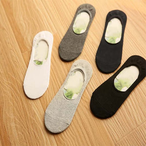 Men's sock slippers Bamboo fibre Non-slip Silicone Invisible Boat Socks Spring Summer Fashion Male ankle socks 5pairs/lot New