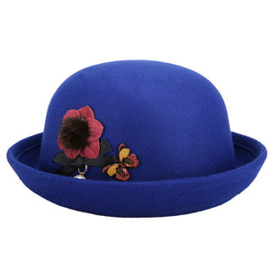 2017 new lovely Red spring autumn vintage Dome fedoras womens hats men felt hats chapeau