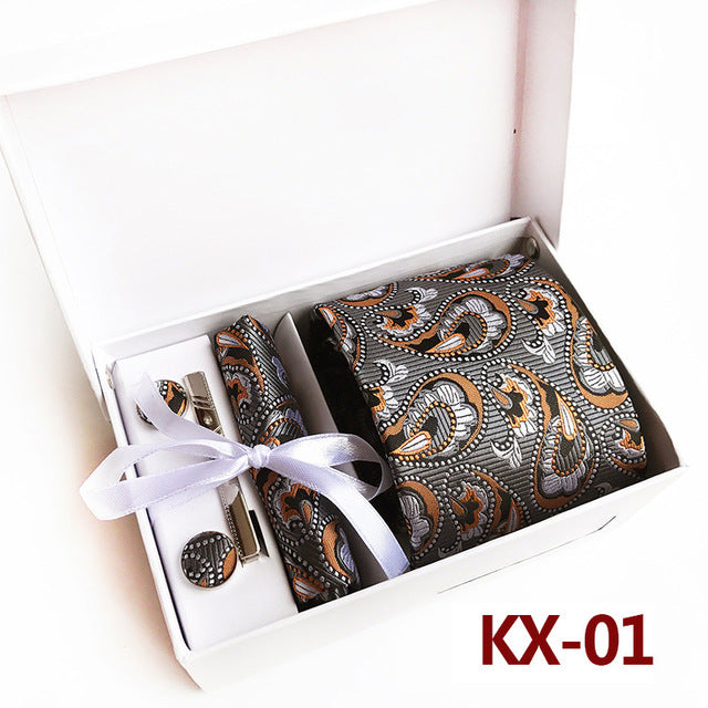20 Colours Fashion Wide Tie Sets Classic Cashew Men's Silk Neck Tie Hankerchiefs Cufflinks Box Gift Polyester Handmade