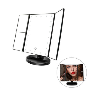 Vanity Makeup Mirror Trifold 21 LED Lighted with Touch Screen 1x/2x/3x Magnification and USB Charging 180°Adjustable Stand for Countertop Cosmetic Makeup