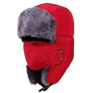 Men Women Winter Ushanka Trapper Aviator Earflap Ski Hats With Mask Cap Hood