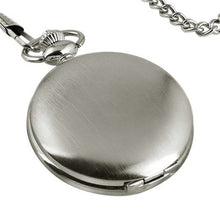 Mens Blank Stainless Steel Case White Dial Arabic Numeral Pocket Watch with Chain /Gift Box