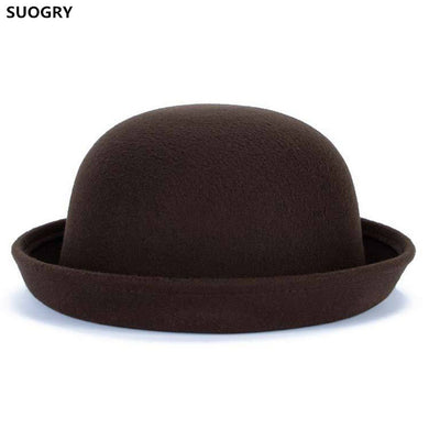 Brands SUOGRY Winter Autumn Women Ladies Fedoras Top Jazz Hat Fashion Thickening Bowler Hats Quality Polyester Cotton Round Caps