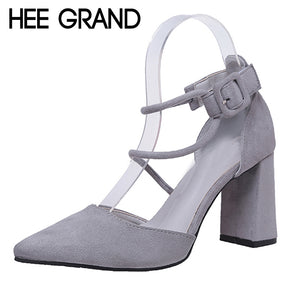 HEE GRAND Fashion Women Flock Sandals Summer Sexy Square High Heels Faux Suede Wedding Shoes Woman Elegant Pumps Ladies XWD6346