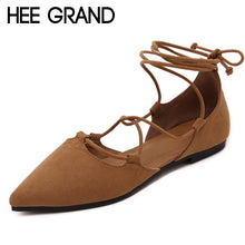 HEE GRAND 2018 Ballet Flats Cross Tied Casual Shoes Woman Lace Up Loafers Platform Elegant Women Shoes Size 35-42 XWZ4637